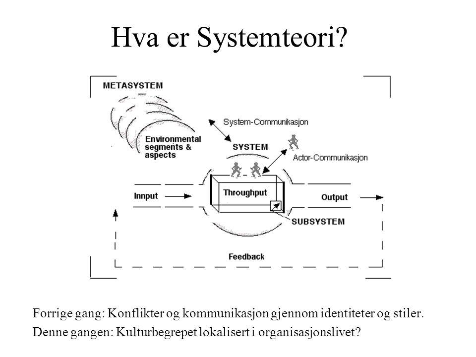 Hva er Systemteori? Forrige gang: Konflikter og kommunikasjon gjennom identiteter og stiler. Denne gangen: Kulturbegrepet lokalisert i organisasjonsli