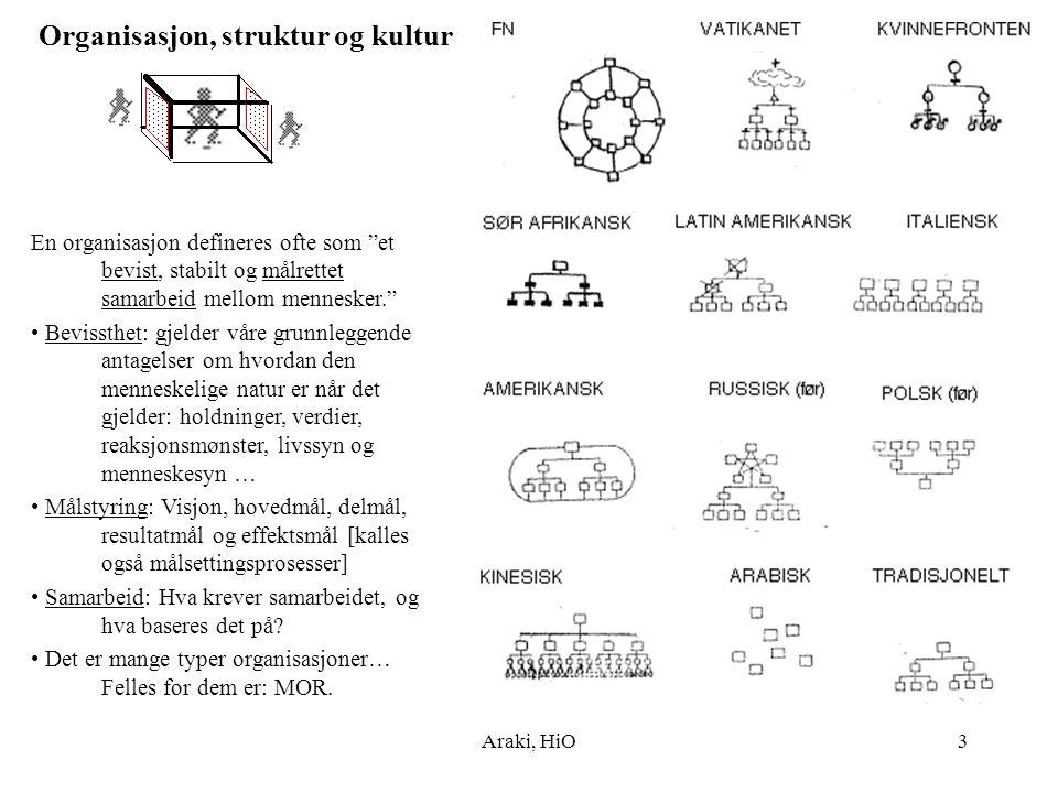 """Araki, HiO3 Organisasjon, struktur og kultur En organisasjon defineres ofte som """"et bevist, stabilt og målrettet samarbeid mellom mennesker."""" • Beviss"""