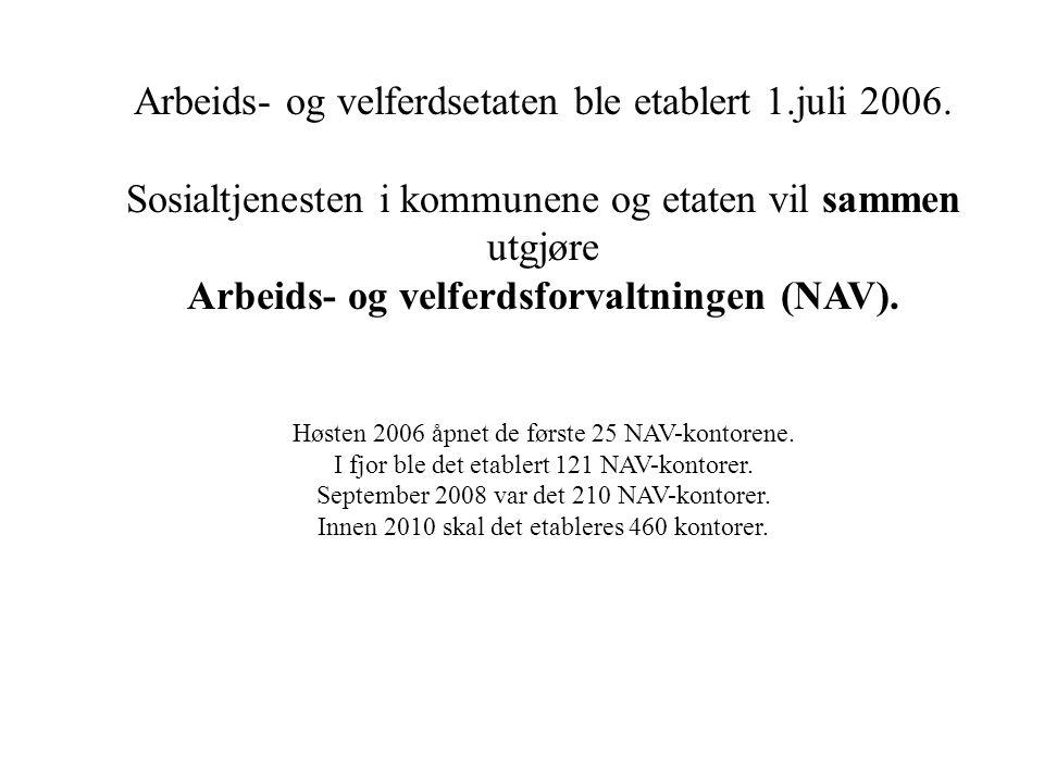 Arbeids- og velferdsetaten ble etablert 1.juli 2006.