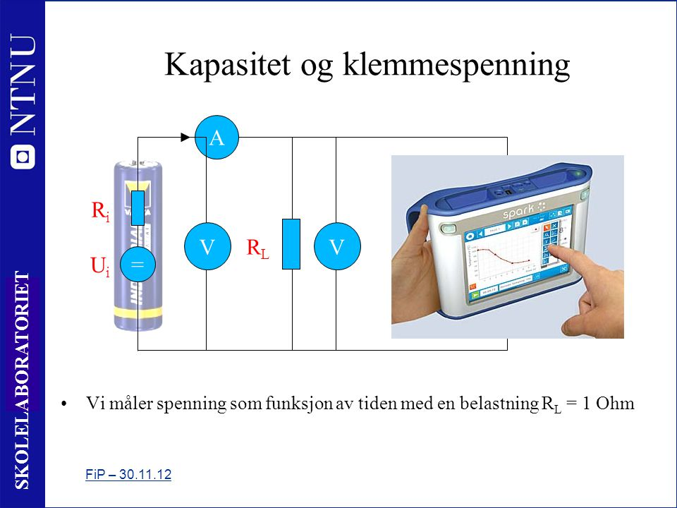 12 SKOLELABORATORIET Kapasitet og klemmespenning •Vi måler spenning som funksjon av tiden med en belastning R L = 1 Ohm FiP – 30.11.12 = RiRi UiUi V A RLRL V