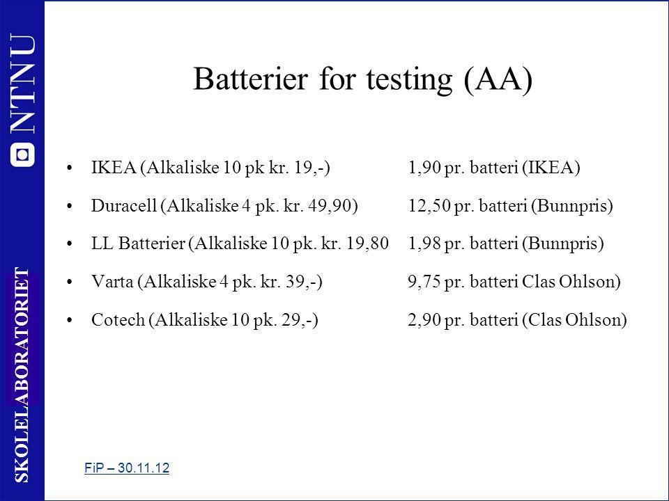 19 SKOLELABORATORIET Batterier for testing (AA) •IKEA (Alkaliske 10 pk kr.