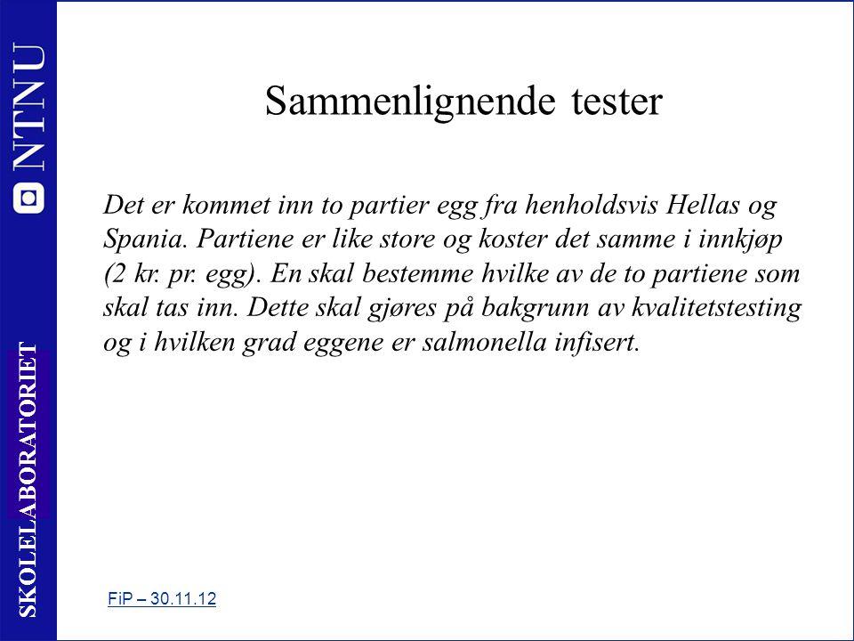 4 SKOLELABORATORIET Sammenlignende tester FiP – 30.11.12 Det er kommet inn to partier egg fra henholdsvis Hellas og Spania.