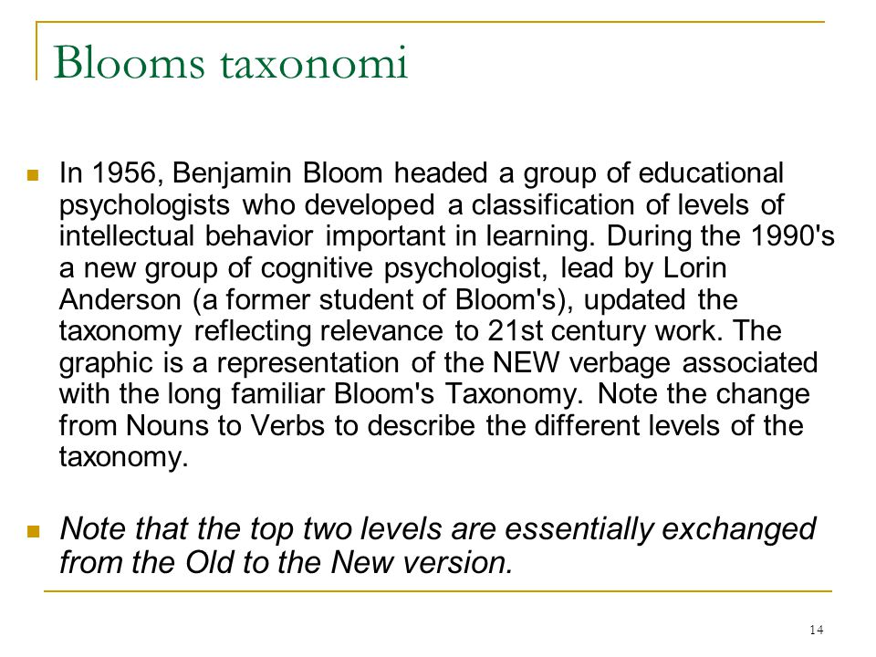 14 Blooms taxonomi  In 1956, Benjamin Bloom headed a group of educational psychologists who developed a classification of levels of intellectual beha