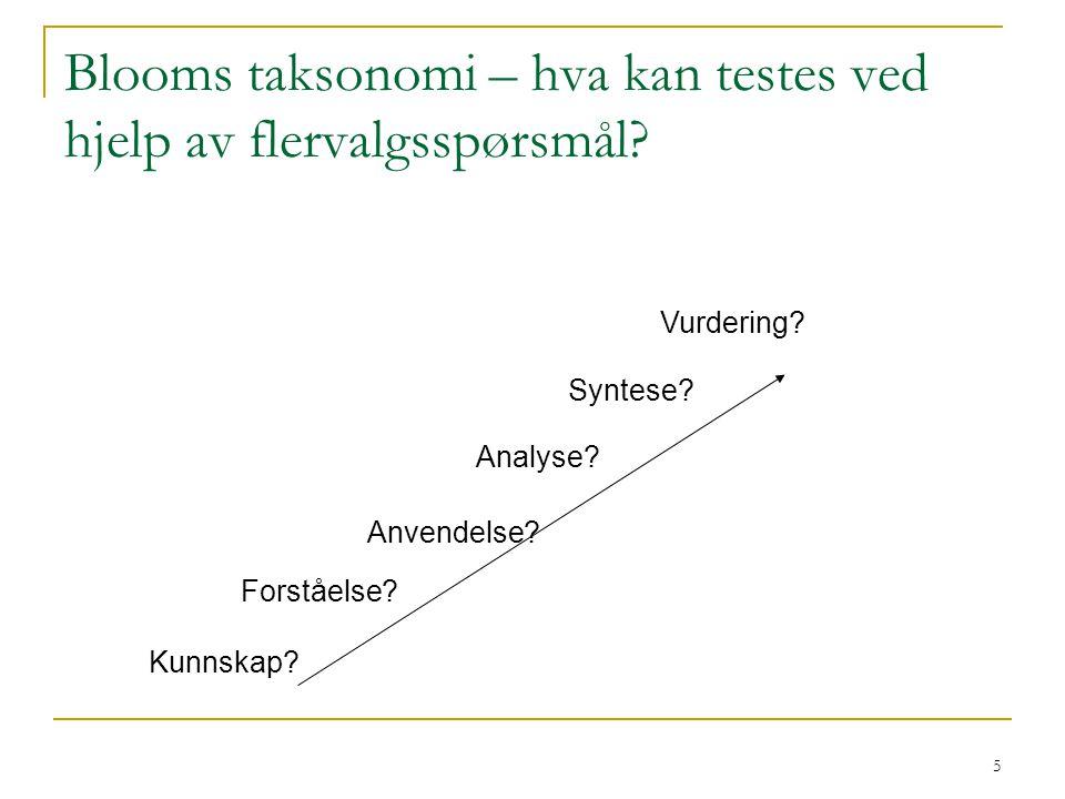 5 Blooms taksonomi – hva kan testes ved hjelp av flervalgsspørsmål? Kunnskap? Forståelse? Anvendelse? Analyse? Syntese? Vurdering?