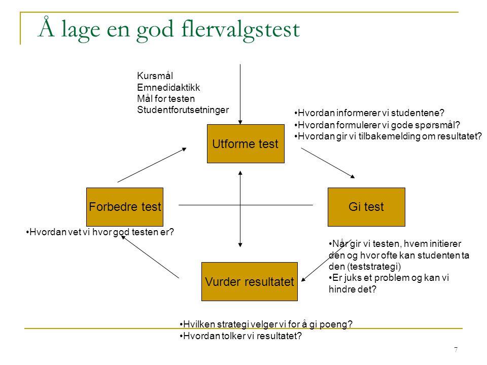 7 Å lage en god flervalgstest Utforme test Gi test Forbedre test Vurder resultatet •Hvordan informerer vi studentene? •Hvordan formulerer vi gode spør