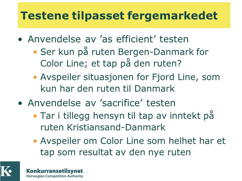 Testene tilpasset fergemarkedet •Anvendelse av 'as efficient' testen •Ser kun på ruten Bergen-Danmark for Color Line; et tap på den ruten? •Avspeiler