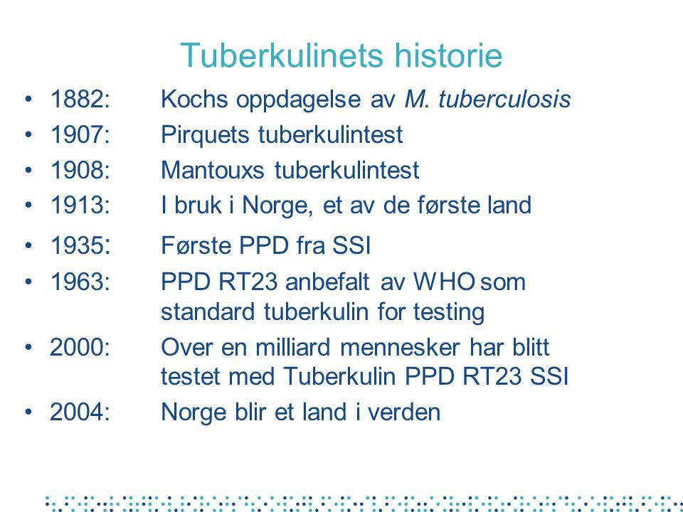 Tuberkulinets historie •1882:Kochs oppdagelse av M. tuberculosis •1907:Pirquets tuberkulintest •1908: Mantouxs tuberkulintest •1913:I bruk i Norge, et