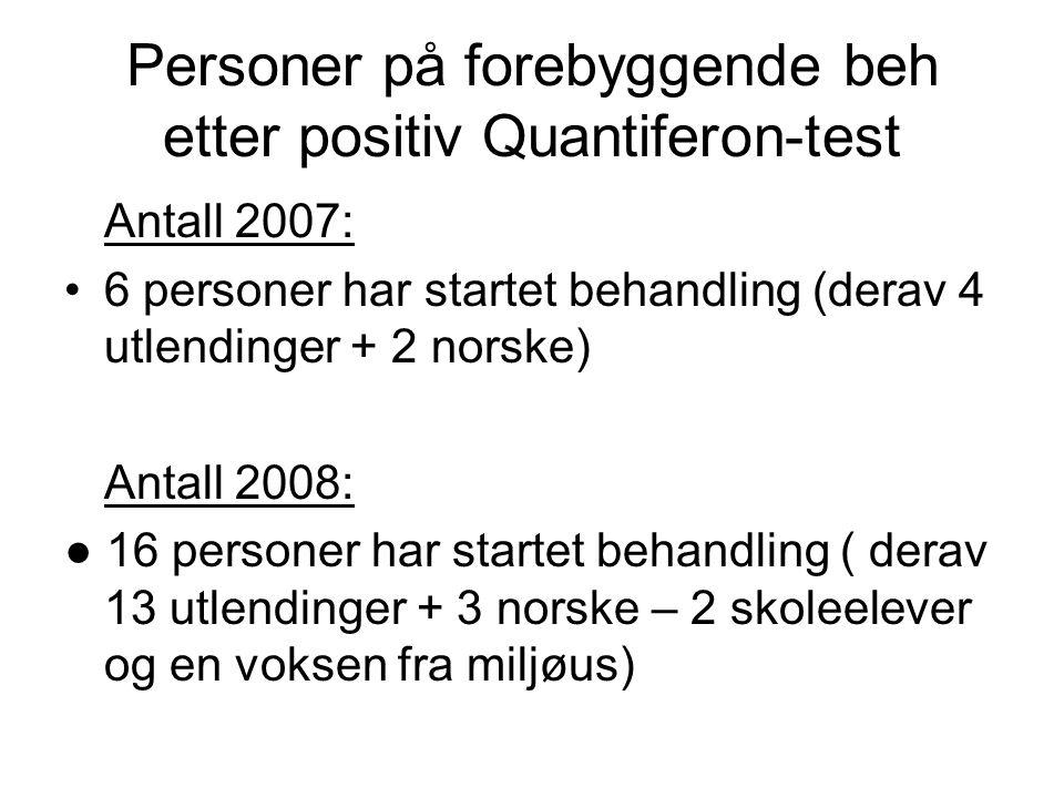 Personer på forebyggende beh etter positiv Quantiferon-test Antall 2007: •6 personer har startet behandling (derav 4 utlendinger + 2 norske) Antall 20