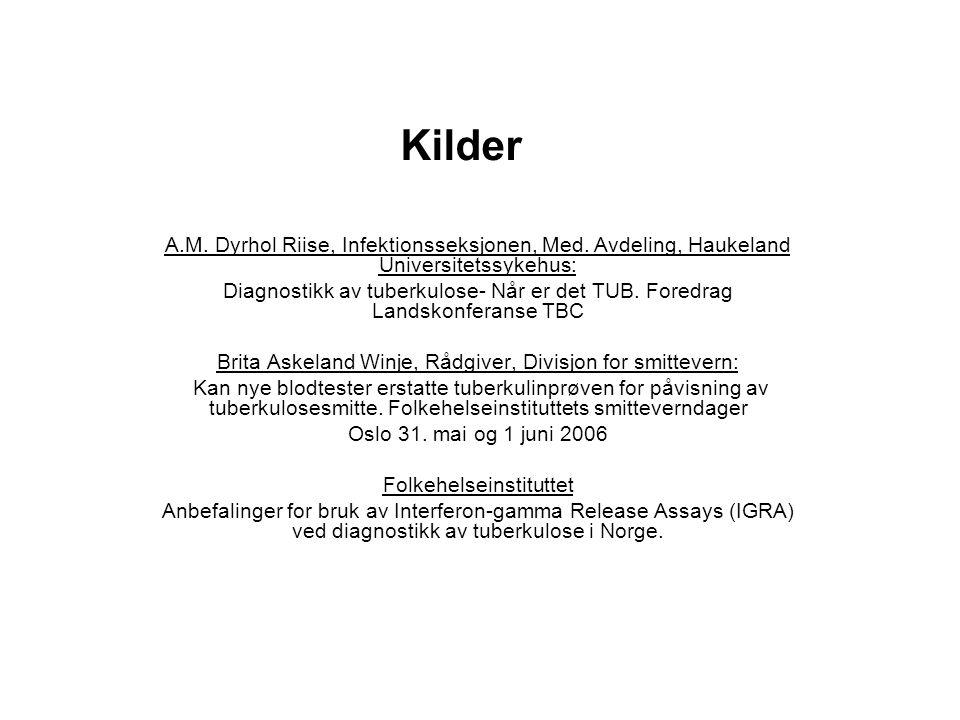Kilder A.M. Dyrhol Riise, Infektionsseksjonen, Med. Avdeling, Haukeland Universitetssykehus: Diagnostikk av tuberkulose- Når er det TUB. Foredrag Land
