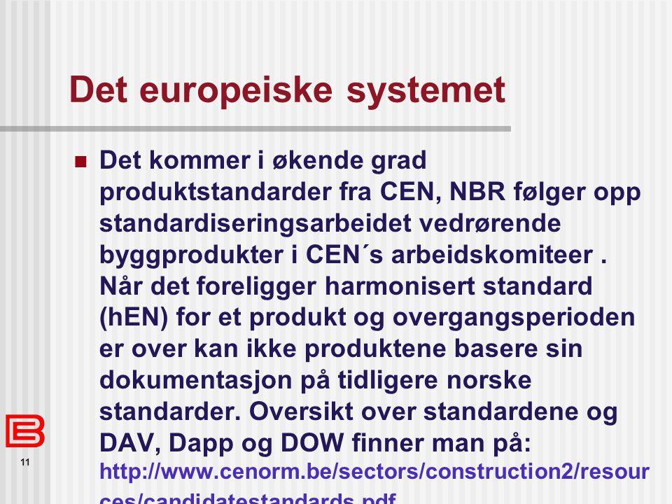 11 Det europeiske systemet  Det kommer i økende grad produktstandarder fra CEN, NBR følger opp standardiseringsarbeidet vedrørende byggprodukter i CEN´s arbeidskomiteer.