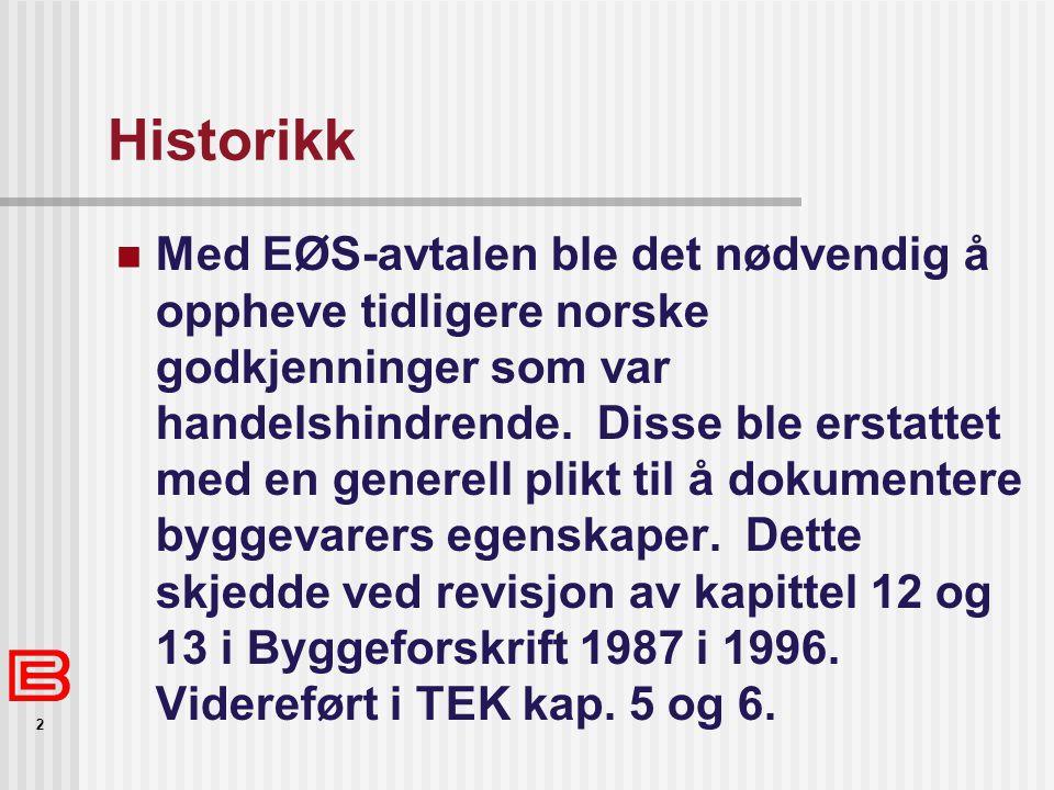 2 Historikk  Med EØS-avtalen ble det nødvendig å oppheve tidligere norske godkjenninger som var handelshindrende.