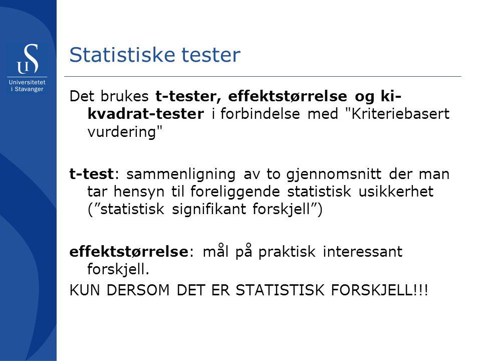 Statistiske tester Det brukes t-tester, effektstørrelse og ki- kvadrat-tester i forbindelse med