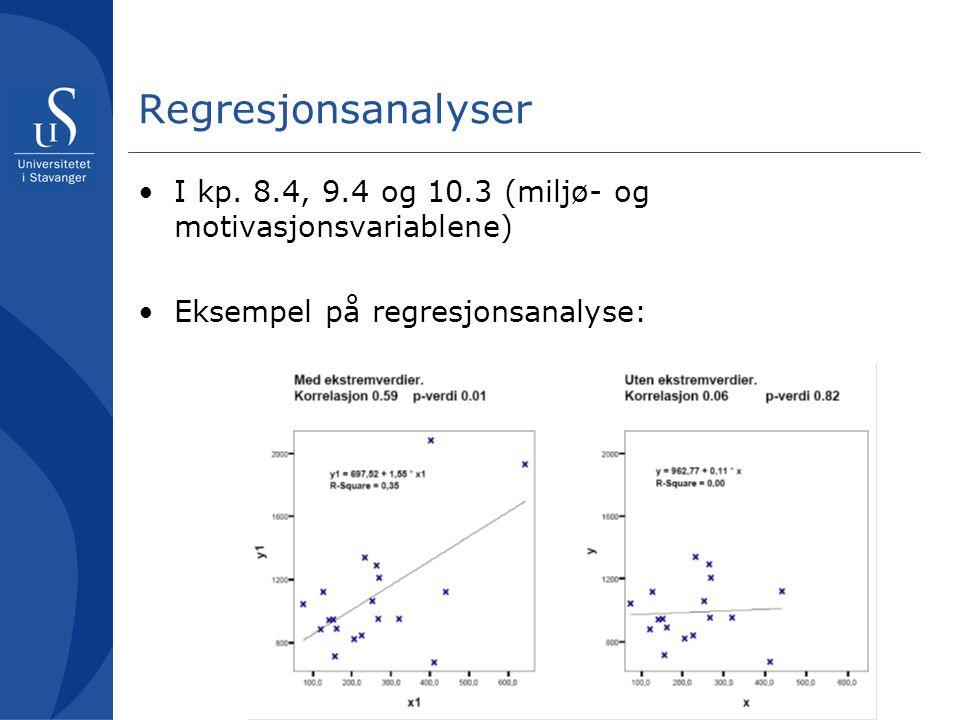 Regresjonsanalyser •I kp. 8.4, 9.4 og 10.3 (miljø- og motivasjonsvariablene) •Eksempel på regresjonsanalyse: