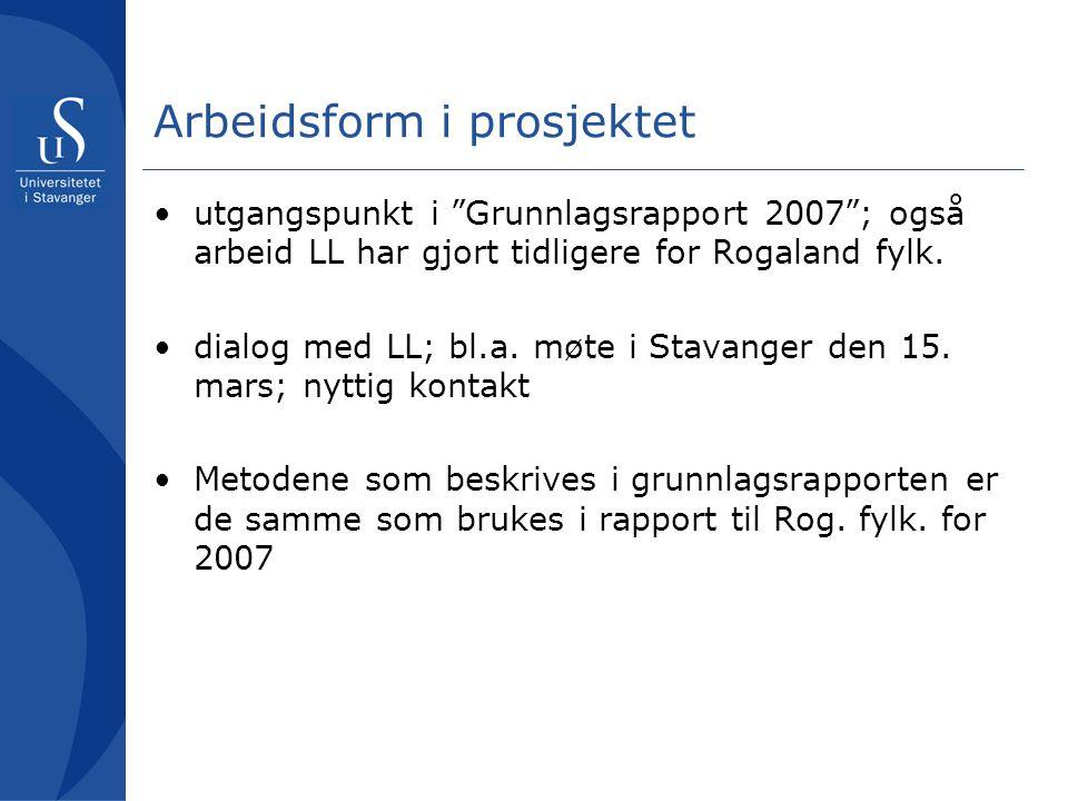 """Arbeidsform i prosjektet •utgangspunkt i """"Grunnlagsrapport 2007""""; også arbeid LL har gjort tidligere for Rogaland fylk. •dialog med LL; bl.a. møte i S"""