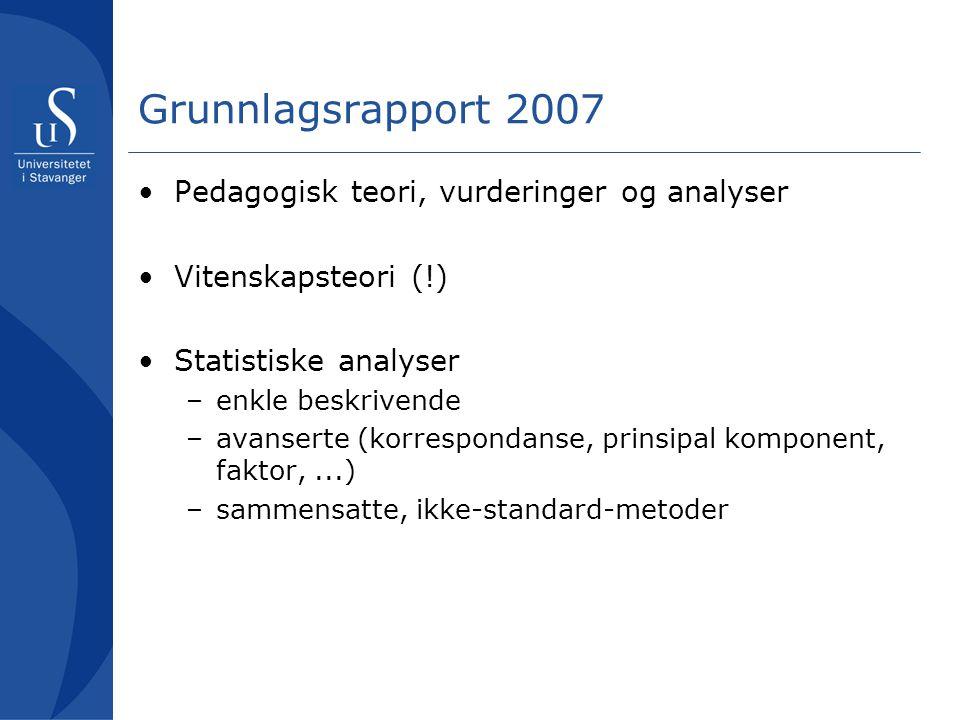 Grunnlagsrapport 2007 •Pedagogisk teori, vurderinger og analyser •Vitenskapsteori (!) •Statistiske analyser –enkle beskrivende –avanserte (korresponda