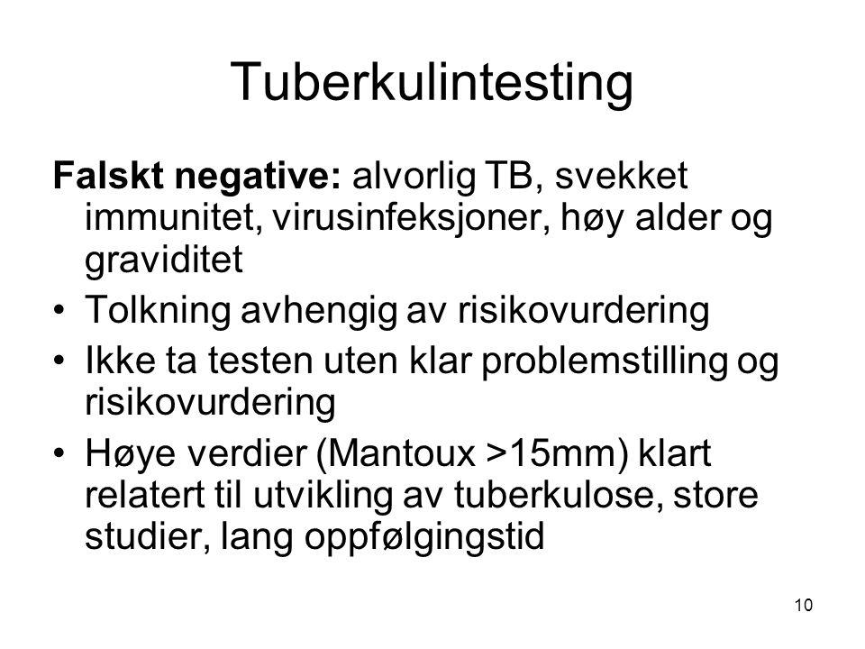 Tuberkulintesting Falskt negative: alvorlig TB, svekket immunitet, virusinfeksjoner, høy alder og graviditet •Tolkning avhengig av risikovurdering •Ik