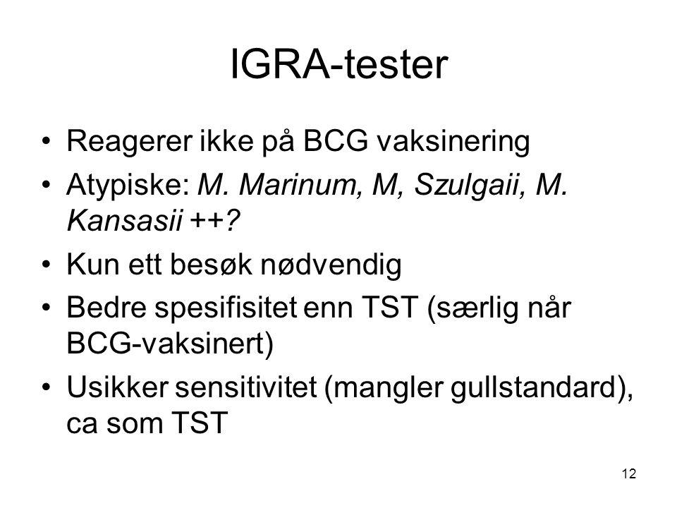IGRA-tester •Reagerer ikke på BCG vaksinering •Atypiske: M. Marinum, M, Szulgaii, M. Kansasii ++? •Kun ett besøk nødvendig •Bedre spesifisitet enn TST