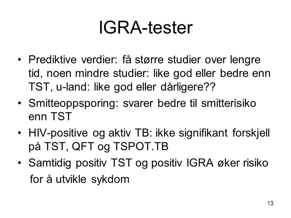 IGRA-tester •Prediktive verdier: få større studier over lengre tid, noen mindre studier: like god eller bedre enn TST, u-land: like god eller dårliger