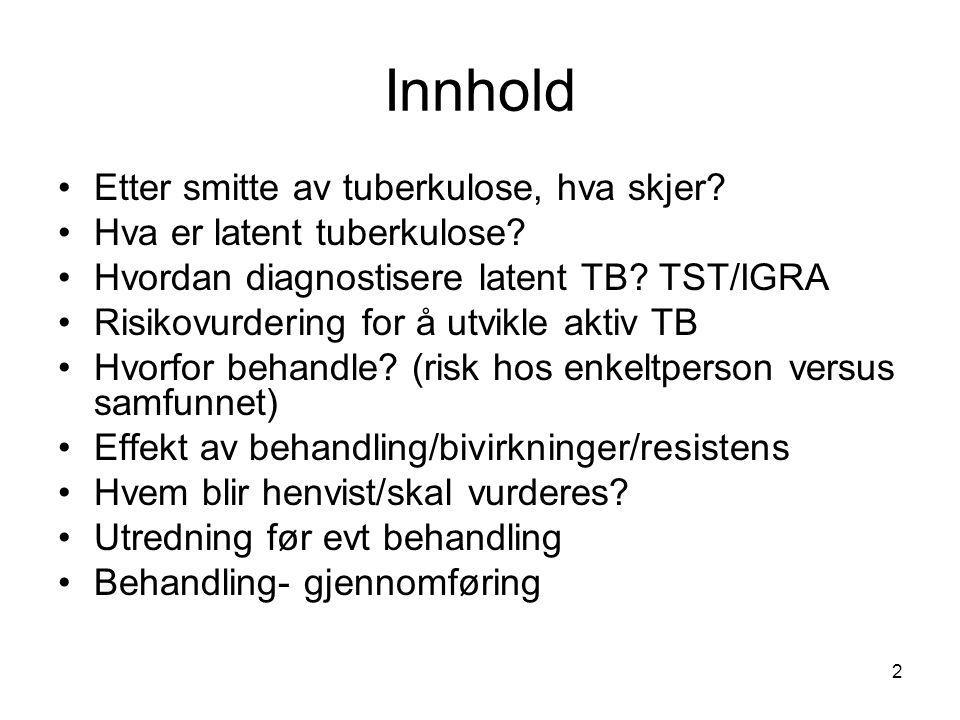 Innhold •Etter smitte av tuberkulose, hva skjer? •Hva er latent tuberkulose? •Hvordan diagnostisere latent TB? TST/IGRA •Risikovurdering for å utvikle