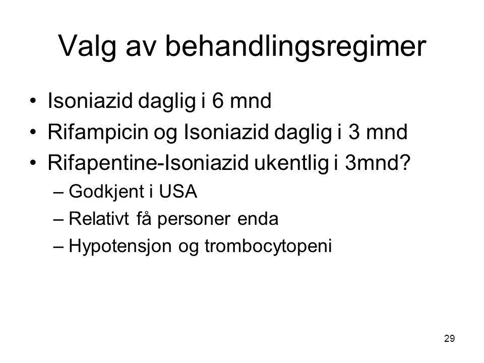 Valg av behandlingsregimer •Isoniazid daglig i 6 mnd •Rifampicin og Isoniazid daglig i 3 mnd •Rifapentine-Isoniazid ukentlig i 3mnd? –Godkjent i USA –