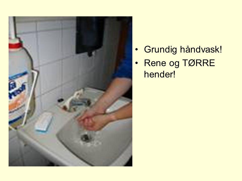 •Grundig håndvask! •Rene og TØRRE hender!
