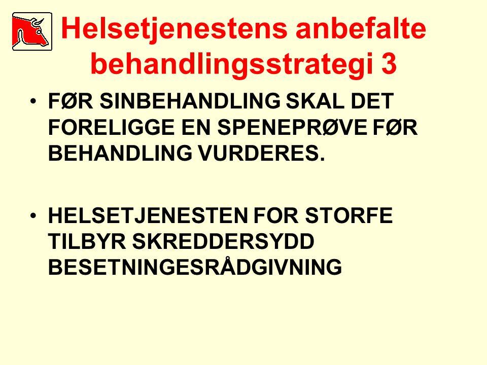 Helsetjenestens anbefalte behandlingsstrategi 3 •FØR SINBEHANDLING SKAL DET FORELIGGE EN SPENEPRØVE FØR BEHANDLING VURDERES. •HELSETJENESTEN FOR STORF