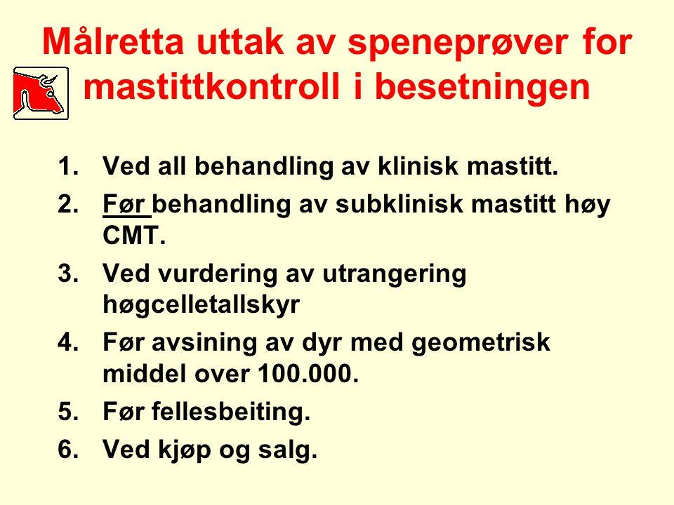 Målretta uttak av speneprøver for mastittkontroll i besetningen 1.Ved all behandling av klinisk mastitt. 2.Før behandling av subklinisk mastitt høy CM