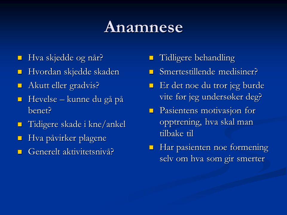 Anamnese  Hva skjedde og når?  Hvordan skjedde skaden  Akutt eller gradvis?  Hevelse – kunne du gå på benet?  Tidigere skade i kne/ankel  Hva på