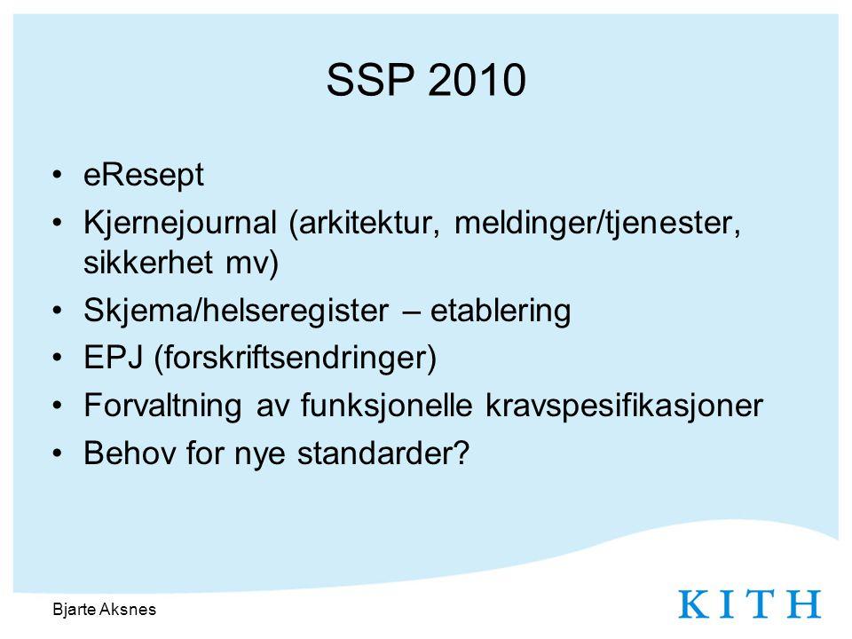 SSP 2010 •eResept •Kjernejournal (arkitektur, meldinger/tjenester, sikkerhet mv) •Skjema/helseregister – etablering •EPJ (forskriftsendringer) •Forvaltning av funksjonelle kravspesifikasjoner •Behov for nye standarder.