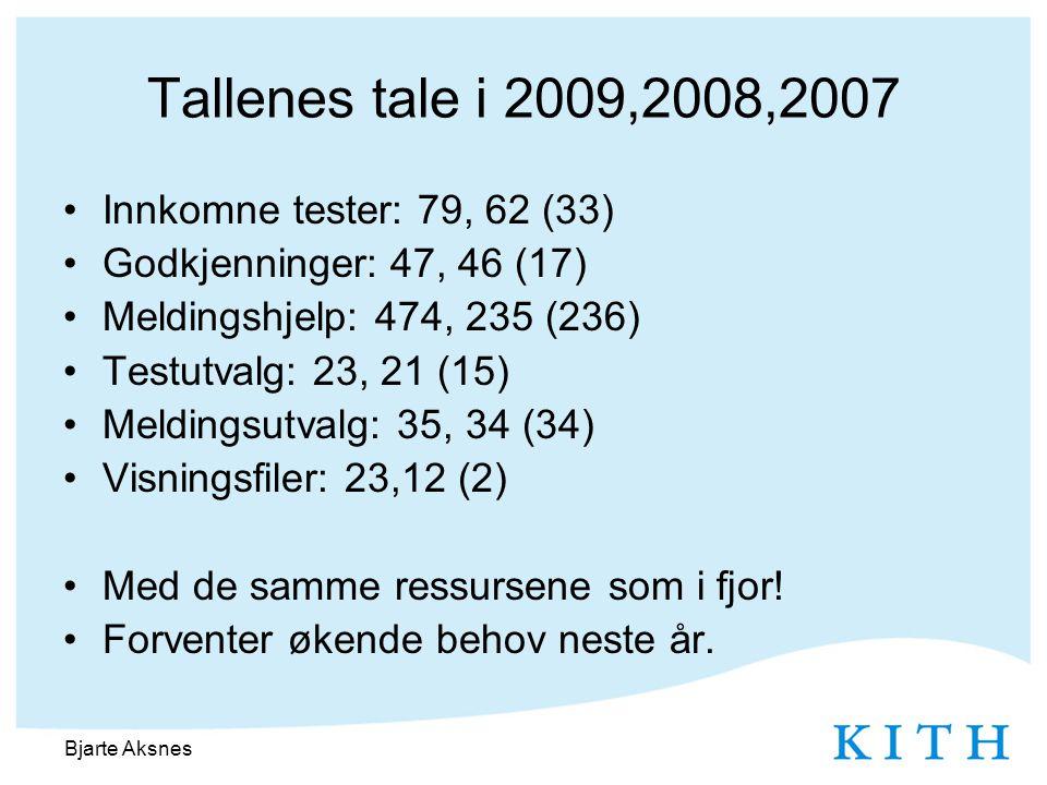 Tallenes tale i 2009,2008,2007 •Innkomne tester: 79, 62 (33) •Godkjenninger: 47, 46 (17) •Meldingshjelp: 474, 235 (236) •Testutvalg: 23, 21 (15) •Meldingsutvalg: 35, 34 (34) •Visningsfiler: 23,12 (2) •Med de samme ressursene som i fjor.