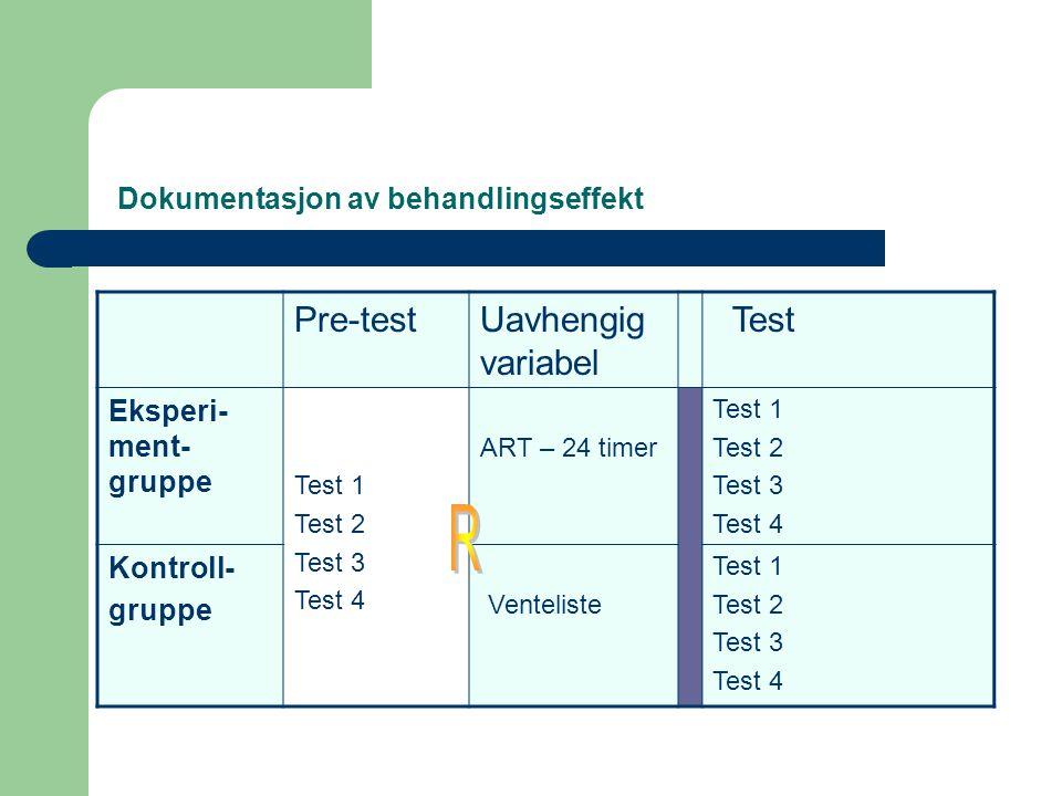 Dokumentasjon av behandlingseffekt Pre-testUavhengig variabel Test Eksperi- ment- gruppe Test 1 Test 2 Test 3 Test 4 ART – 24 timer Test 1 Test 2 Test