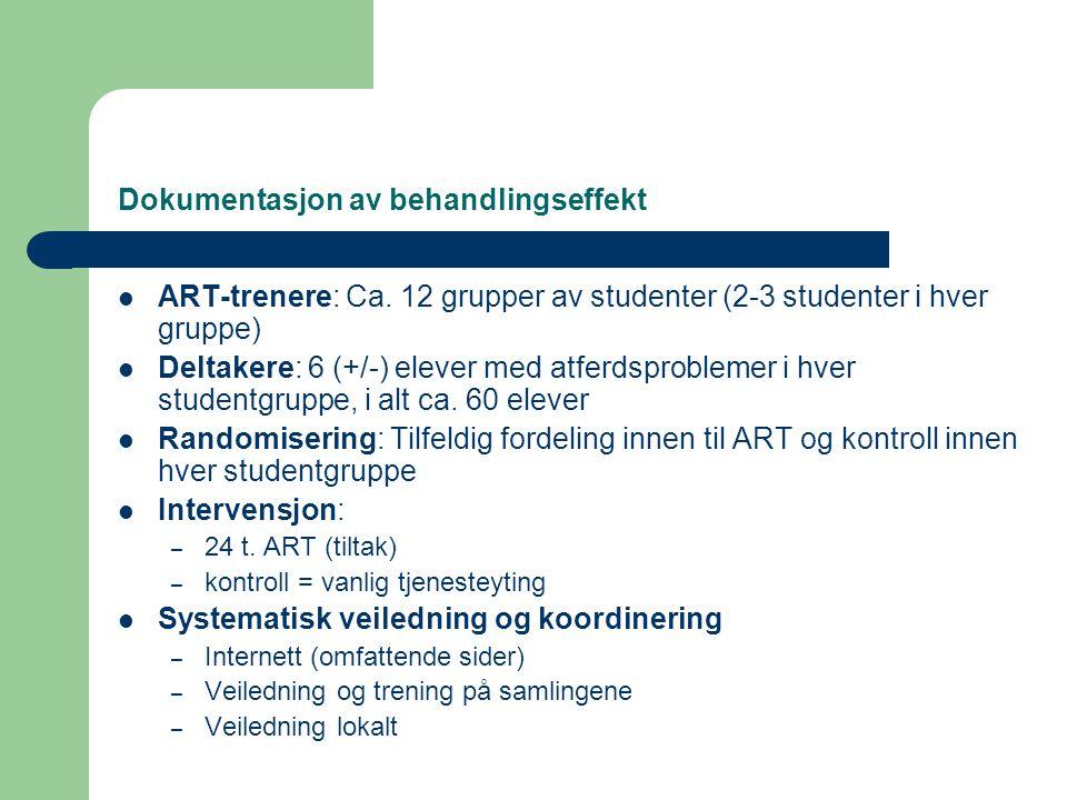 Dokumentasjon av behandlingseffekt  ART-trenere: Ca. 12 grupper av studenter (2-3 studenter i hver gruppe)  Deltakere: 6 (+/-) elever med atferdspro