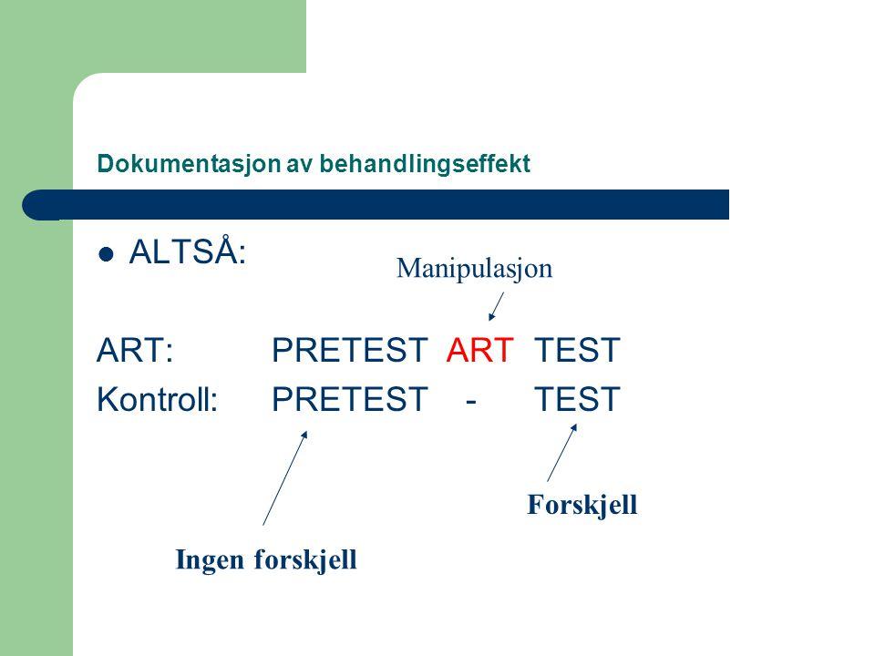 Dokumentasjon av behandlingseffekt  ALTSÅ: ART:PRETESTARTTEST Kontroll:PRETEST -TEST Forskjell Ingen forskjell Manipulasjon