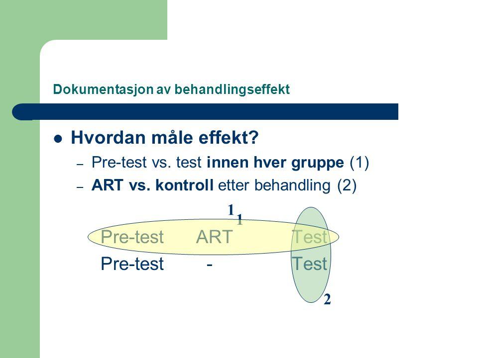 Dokumentasjon av behandlingseffekt  Hvordan måle effekt? – Pre-test vs. test innen hver gruppe (1) – ART vs. kontroll etter behandling (2) Pre-testAR