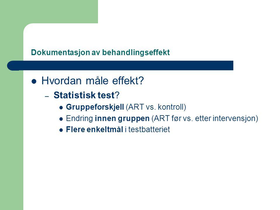 Dokumentasjon av behandlingseffekt  Hvordan måle effekt? – Statistisk test?  Gruppeforskjell (ART vs. kontroll)  Endring innen gruppen (ART før vs.