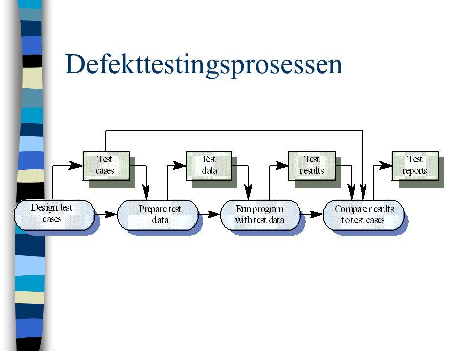 Integrasjonstesting  Utvikles fra spesifikasjon  Settes i gang så snart brukbare systemdeler foreligger  Inkrementell integrasjon og testing –Lettere å isolere feil –Repetere tidligere tester  Ikke enkelt