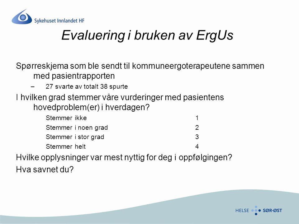 Evaluering i bruken av ErgUs Spørreskjema som ble sendt til kommuneergoterapeutene sammen med pasientrapporten –27 svarte av totalt 38 spurte I hvilke