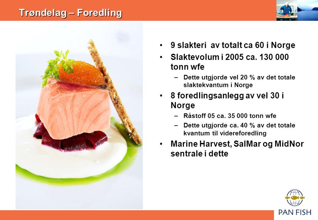 Trøndelag – Foredling •9 slakteri av totalt ca 60 i Norge •Slaktevolum i 2005 ca. 130 000 tonn wfe –Dette utgjorde vel 20 % av det totale slaktekvantu
