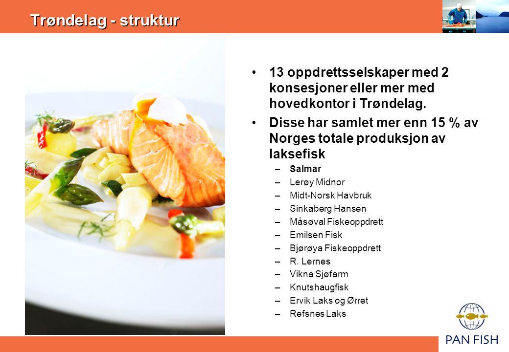 Trøndelag - struktur •13 oppdrettsselskaper med 2 konsesjoner eller mer med hovedkontor i Trøndelag. •Disse har samlet mer enn 15 % av Norges totale p