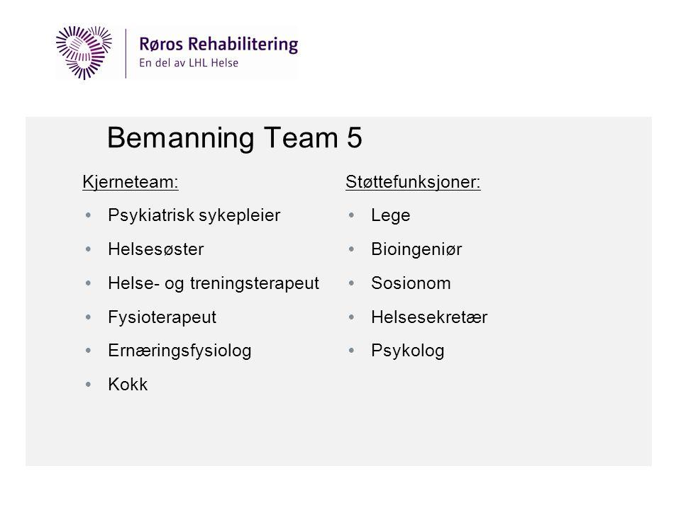 Bemanning Team 5 Kjerneteam: • Psykiatrisk sykepleier • Helsesøster • Helse- og treningsterapeut • Fysioterapeut • Ernæringsfysiolog • Kokk Støttefunk
