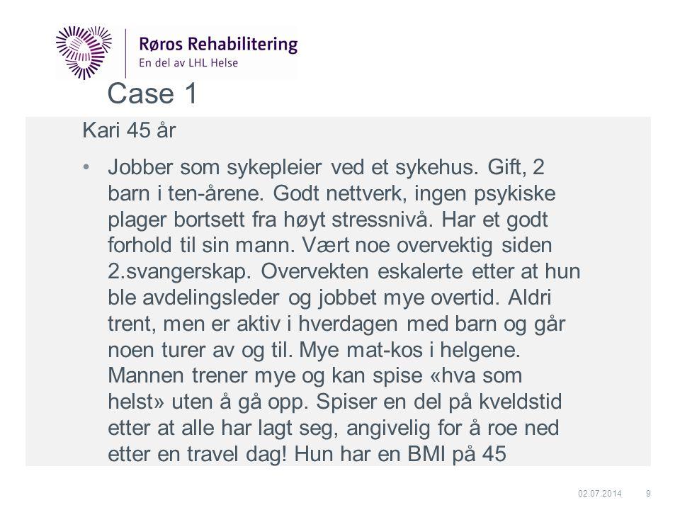 Case 1 Kari 45 år •Jobber som sykepleier ved et sykehus. Gift, 2 barn i ten-årene. Godt nettverk, ingen psykiske plager bortsett fra høyt stressnivå.
