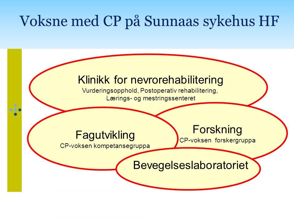 Klinikk for nevrorehabilitering Vurderingsopphold, Postoperativ rehabilitering, Lærings- og mestringssenteret Forskning CP-voksen forskergruppa Fagutvikling CP-voksen kompetansegruppa Voksne med CP på Sunnaas sykehus HF Bevegelseslaboratoriet