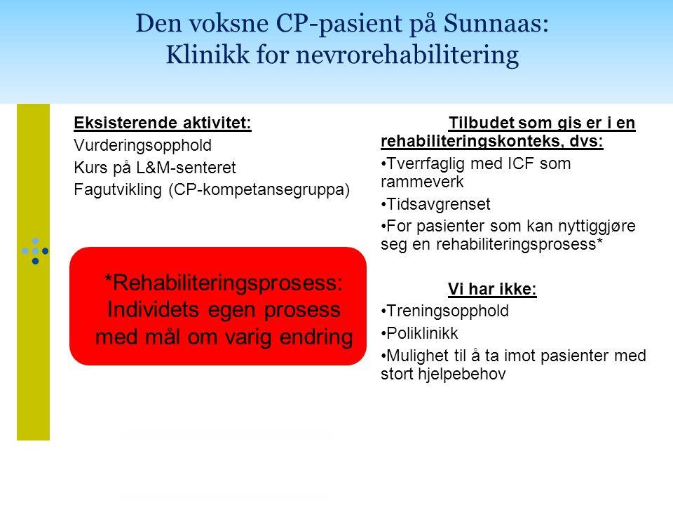 Den voksne CP-pasient på Sunnaas: Klinikk for nevrorehabilitering Eksisterende aktivitet: Vurderingsopphold Kurs på L&M-senteret Fagutvikling (CP-kompetansegruppa) Tilbudet som gis er i en rehabiliteringskonteks, dvs: •Tverrfaglig med ICF som rammeverk •Tidsavgrenset •For pasienter som kan nyttiggjøre seg en rehabiliteringsprosess* Vi har ikke: •Treningsopphold •Poliklinikk •Mulighet til å ta imot pasienter med stort hjelpebehov *Rehabiliteringsprosess: Individets egen prosess med mål om varig endring