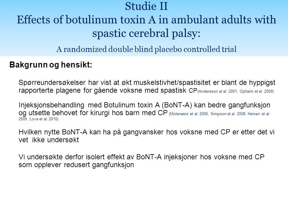 Bakgrunn og hensikt: Spørreundersøkelser har vist at økt muskelstivhet/spastisitet er blant de hyppigst rapporterte plagene for gående voksne med spastisk CP (Andersson et al.
