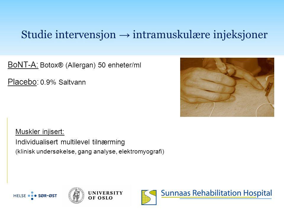 Studie intervensjon → intramuskulære injeksjoner BoNT-A: Botox® (Allergan) 50 enheter/ml Placebo: 0.9% Saltvann Muskler injisert: Individualisert mult