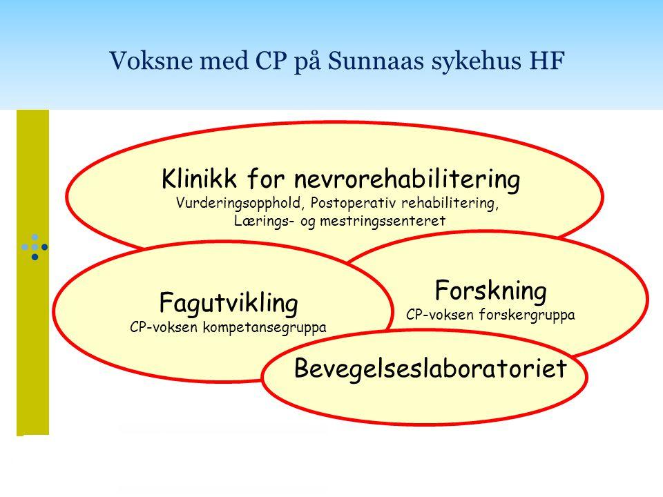 Klinikk for nevrorehabilitering Vurderingsopphold, Postoperativ rehabilitering, Lærings- og mestringssenteret Forskning CP-voksen forskergruppa Fagutv