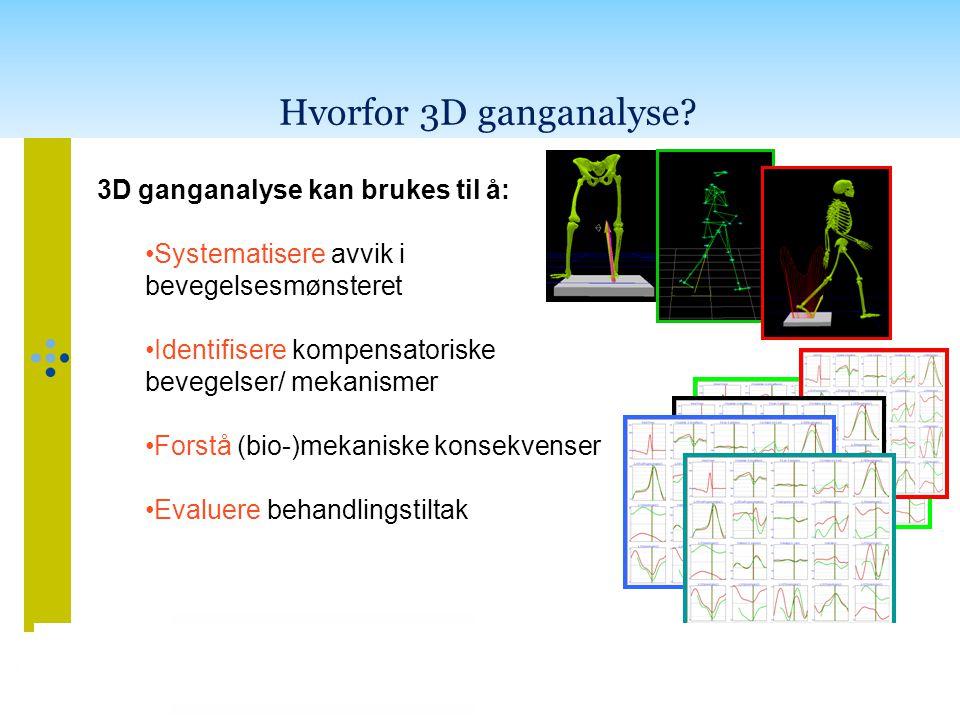 Hvorfor 3D ganganalyse? 3D ganganalyse kan brukes til å: •Systematisere avvik i bevegelsesmønsteret •Identifisere kompensatoriske bevegelser/ mekanism