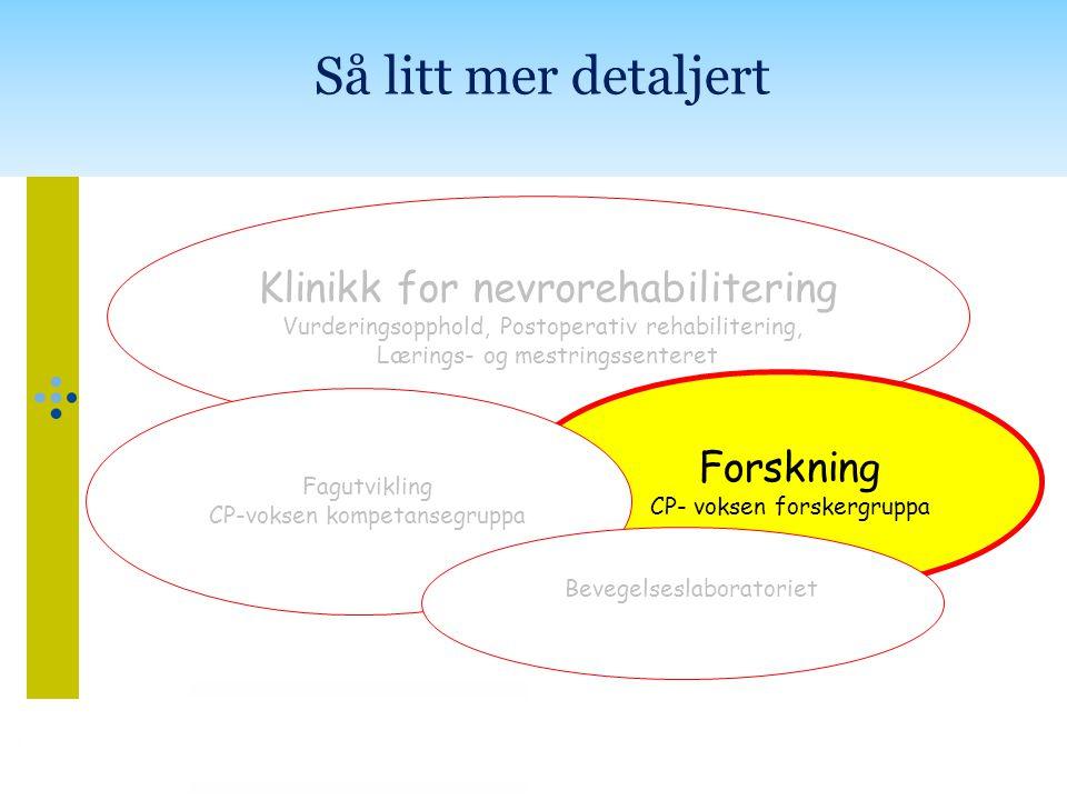 Klinikk for nevrorehabilitering Vurderingsopphold, Postoperativ rehabilitering, Lærings- og mestringssenteret Forskning CP- voksen forskergruppa Fagut