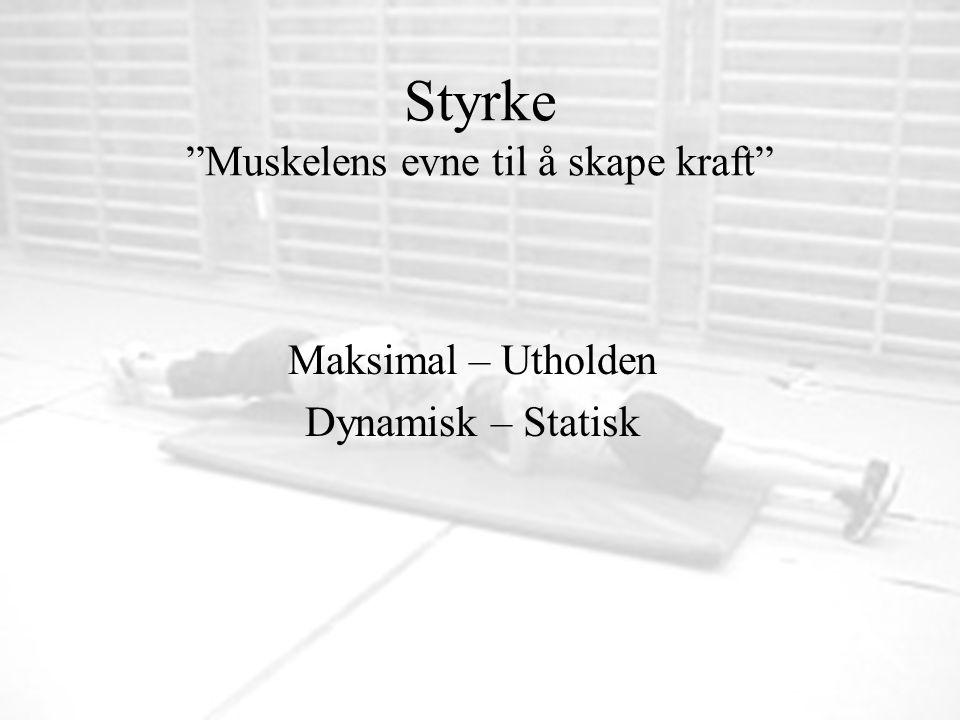 """Styrke """"Muskelens evne til å skape kraft"""" Maksimal – Utholden Dynamisk – Statisk"""