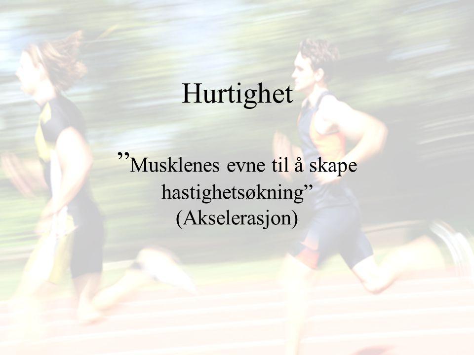 """Hurtighet """" Musklenes evne til å skape hastighetsøkning"""" (Akselerasjon)"""